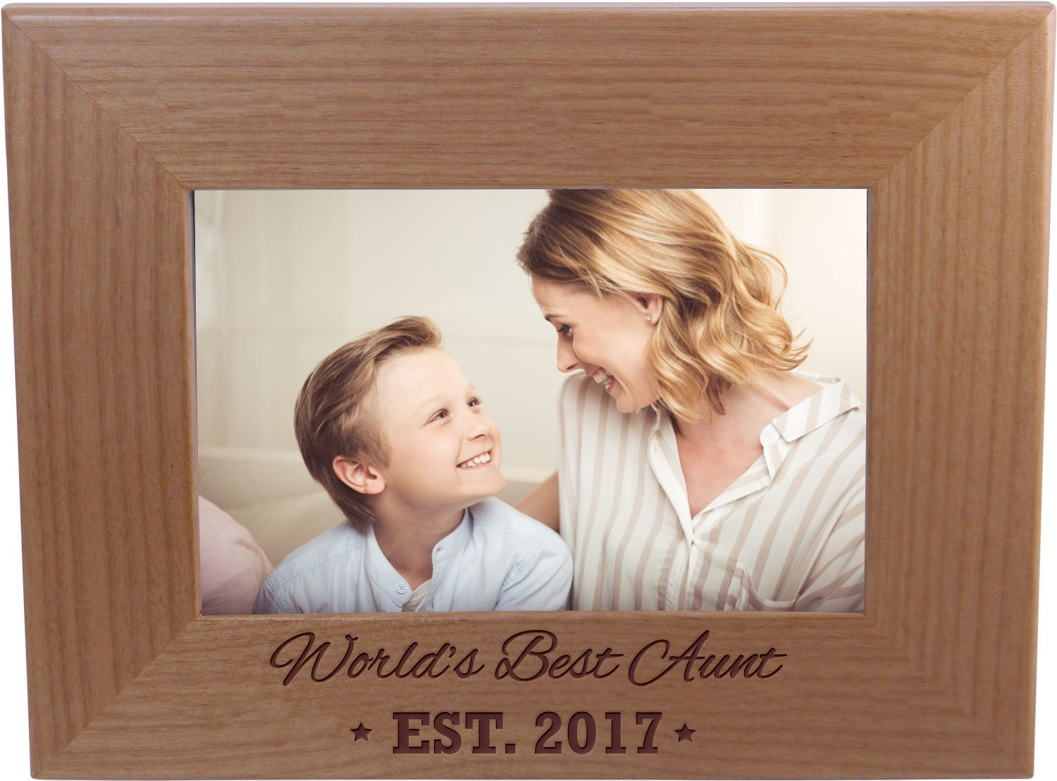 CustomGiftsNow World's Best Aunt EST. 2017 4-inch x 6-Inch Wood Picture Frame