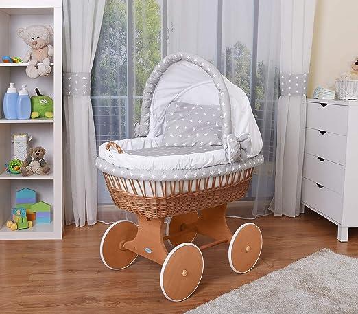 WALDIN Baby Bollerwagen,Stubenwagen,komplett mit Zubehör,XXL,Neu Gelb//Beige