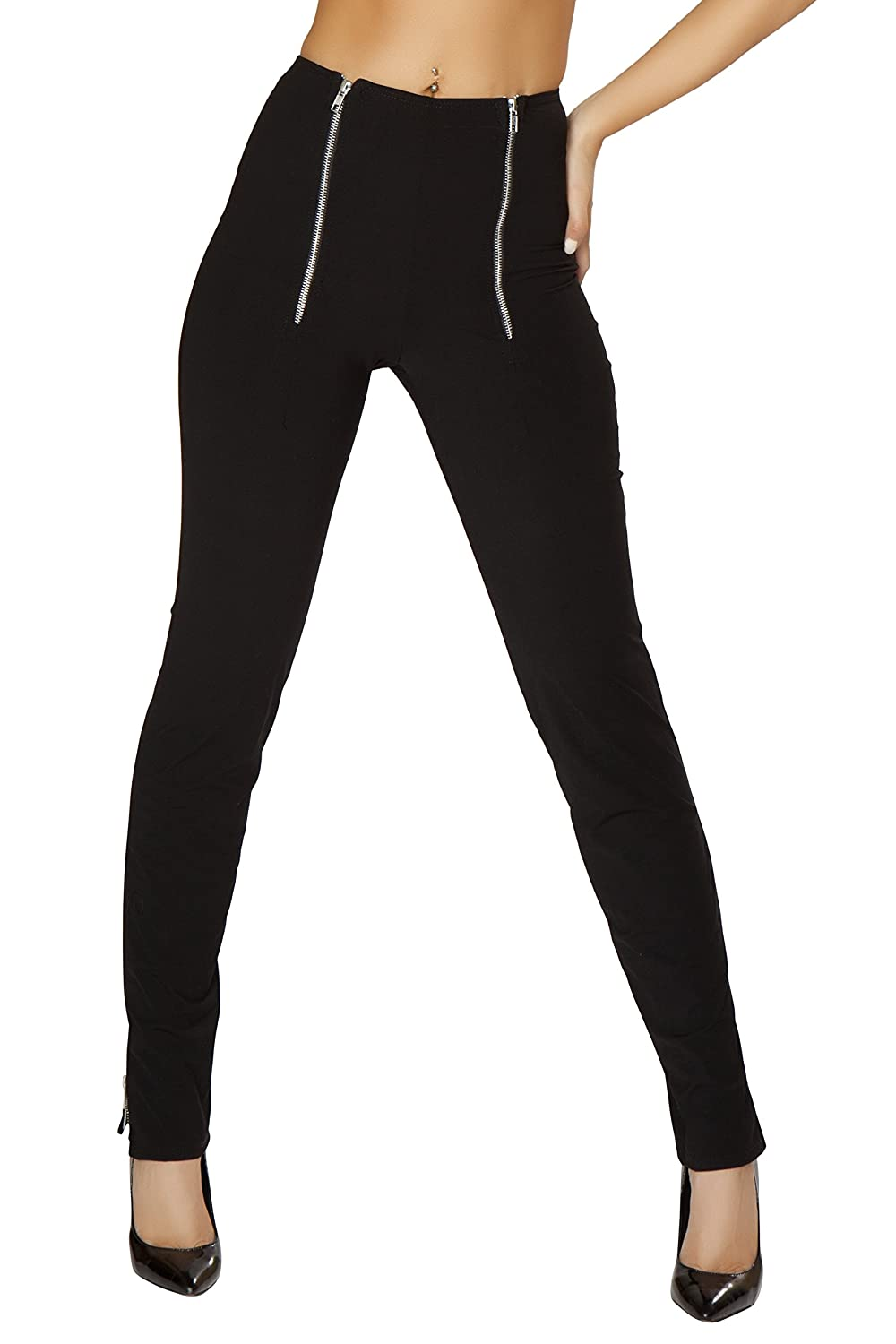 Roma Women's Pants with Dual Zip Front and Zip Up Cuffs 3180