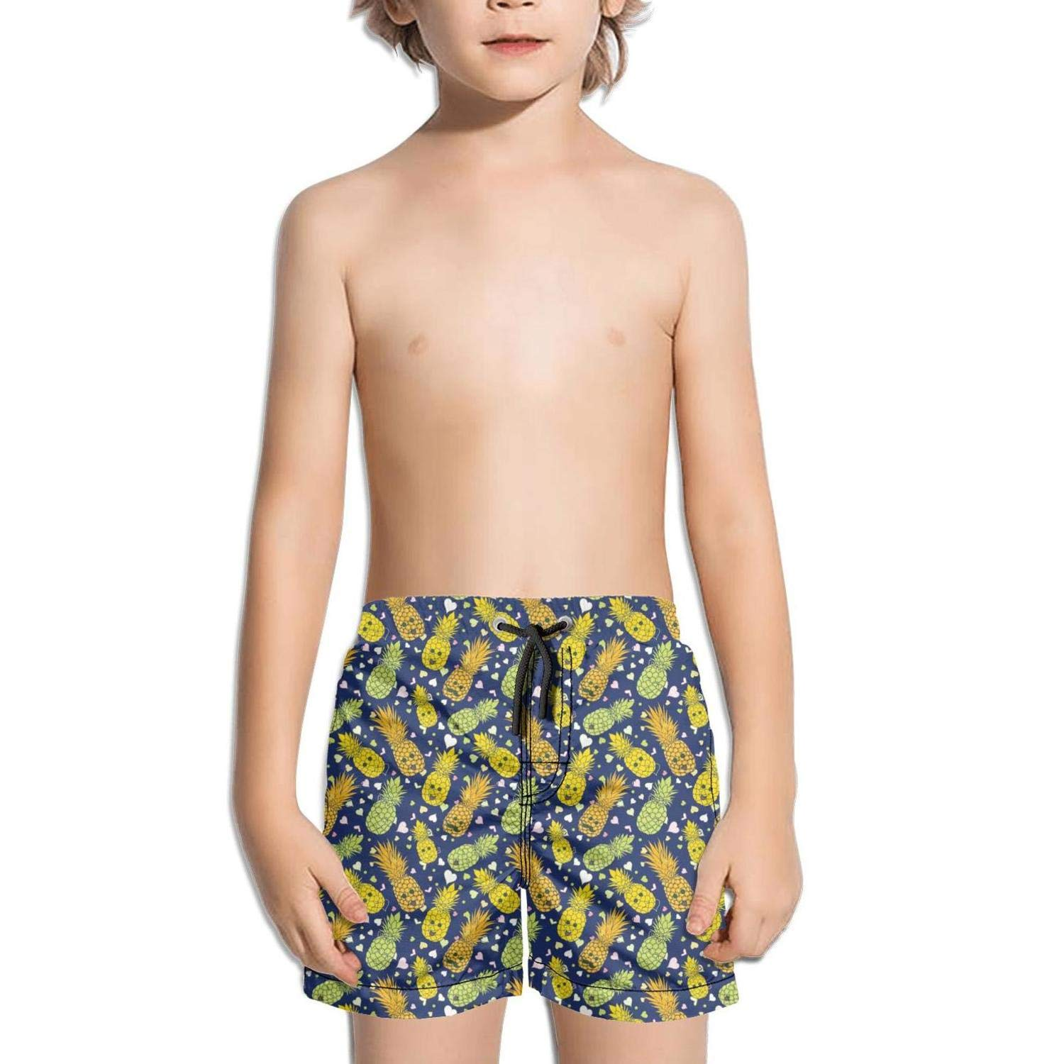 Ina Fers.Quick Dry Swim Trunks Love Happy Pineapple Faces & Heart Shape Shorts for Boys