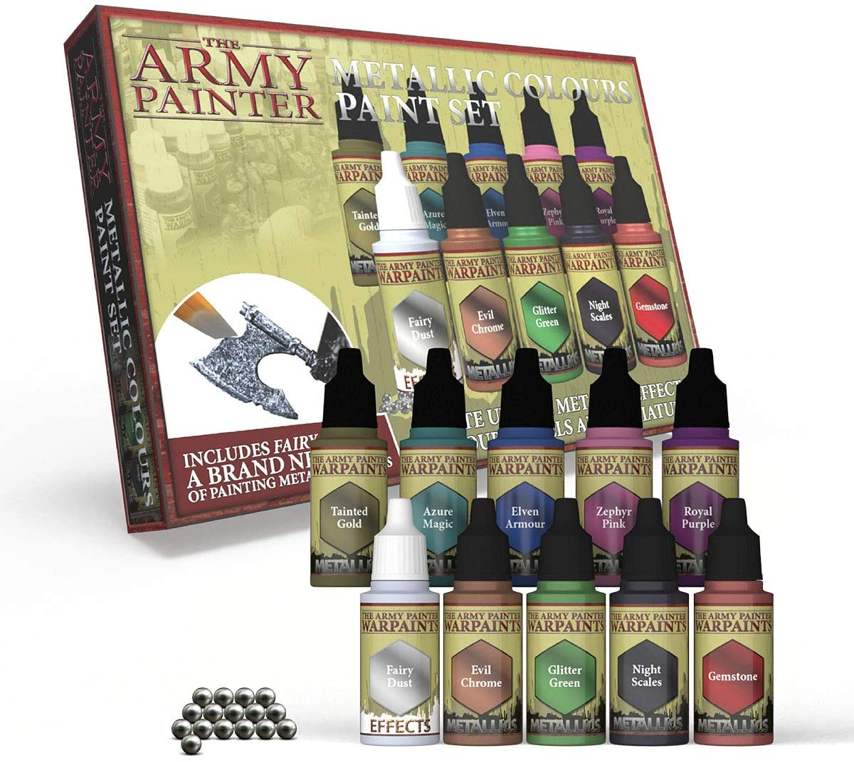 The Army Painter   Metallic Colours Paint Set   10 Pinturas Metálicas y Bolas de Mezcla   para Pintura y Modelado de Figuras Miniatura de Wargames