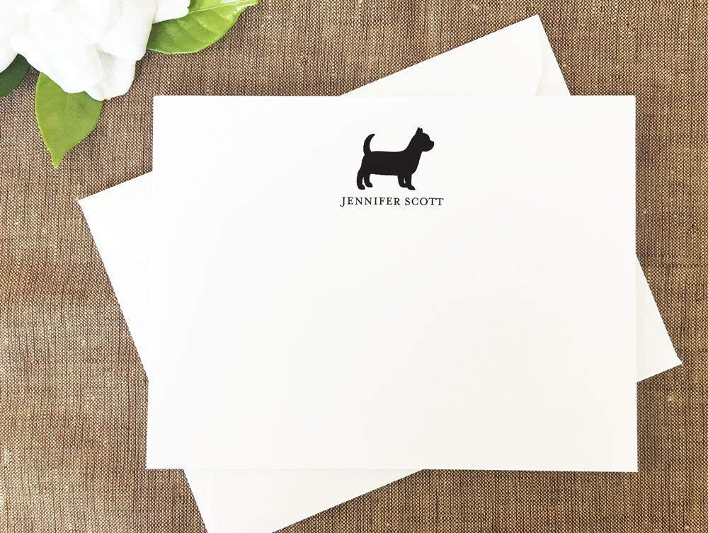 Personalized Stationery Set of 10 Flat Note Cards with Envelopes Yorkie Dog Note Cards