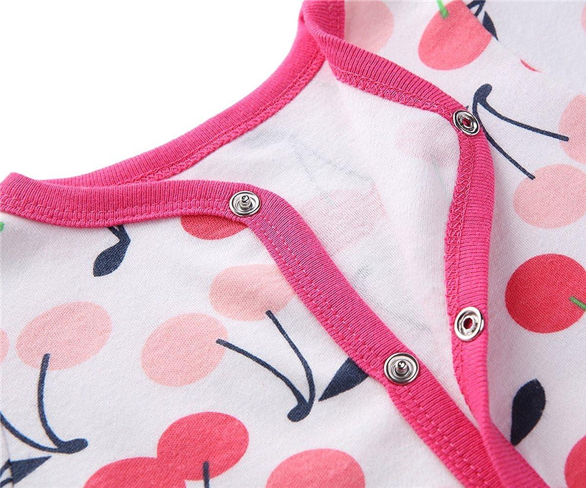 Fairy Baby Unisex Baby Long Sleeve Footies Cartoon Print Coveralls,3-6M,Cherry
