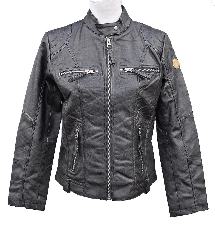 Damen Lederjacke Leder Bikerjacke Jacke extra weich Kunstleder 25
