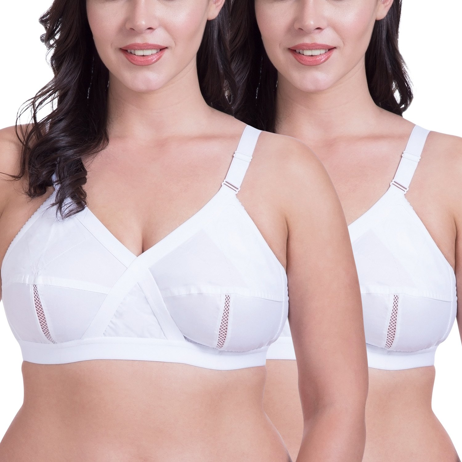 1b95584c16e Rajnie Cross Fit Plus Size Non Padded Cotton Bra (Pack of 2)  Amazon.in   Clothing   Accessories