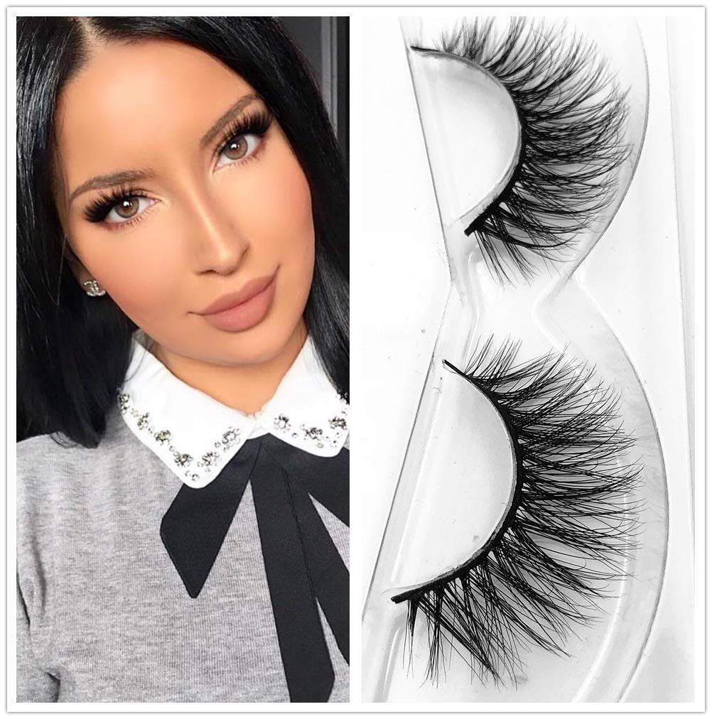 d098f1aeab2 Amazon.com : Lashes Soft Thin Natural Style Mink 3D lashes Strip 100%  Siberian Fur Fake Eyelashes Hand-made False Eyelash 1 Pair Package Miss  Kiss (3D01) : ...