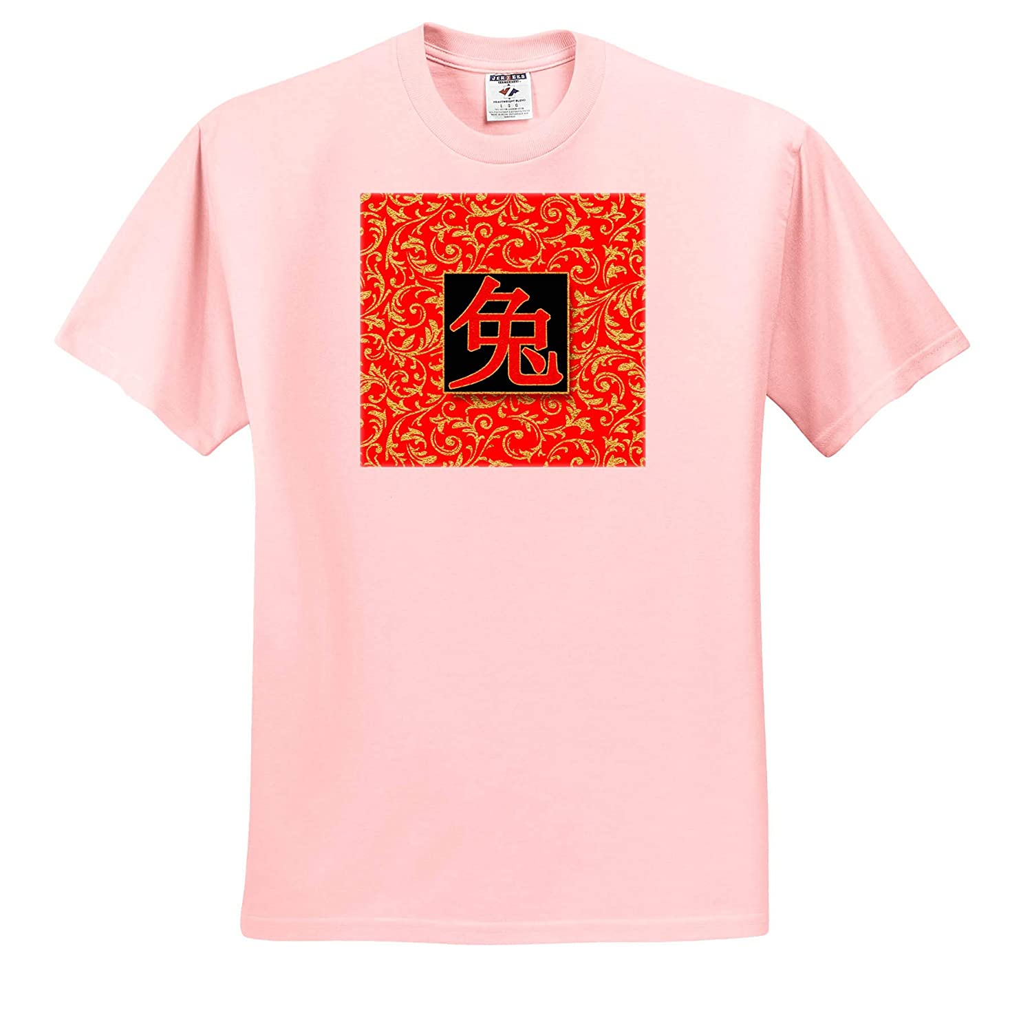 T-Shirts Vibrant Traditional Red and Gold Year of The Rabbit Chinese Character 3dRose Doreen Erhardt Asian Collection