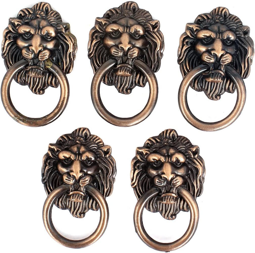 uxcell Cupboard Cabinet Drawer Vintage Lion Head Ring Pull Knob Handle 5 Pcs