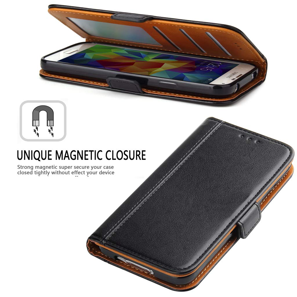 Black Galaxy S5 Case Bozon Wallet Case for Samsung Galaxy S5// S5 Neo Flip Folio Leather Cover with Stand//Card Slots and Magnetic Closure