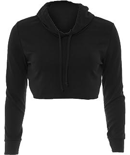 43704a95422d Ladies Raw Edge Top Long Sleeve Short Plain Cropped Hoodie Pullover  Sweatshirt
