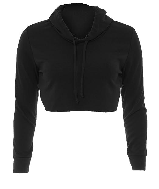 ff595898 Ladies Raw Edge Top Long Sleeve Short Plain Cropped Hoodie Pullover  Sweatshirt: Amazon.co.uk: Clothing