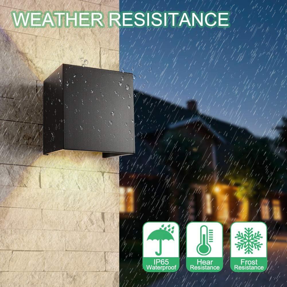 INHDBOX Wandleuchte Aussen Dimmbar Wasserdicht Wandlampe,7W 110V Verstellbare Lichtwinkel LED Aluminium Wandbeleuchtung für Garten/Flur/Weg-Warmweiß (Schwarz) Schwarz