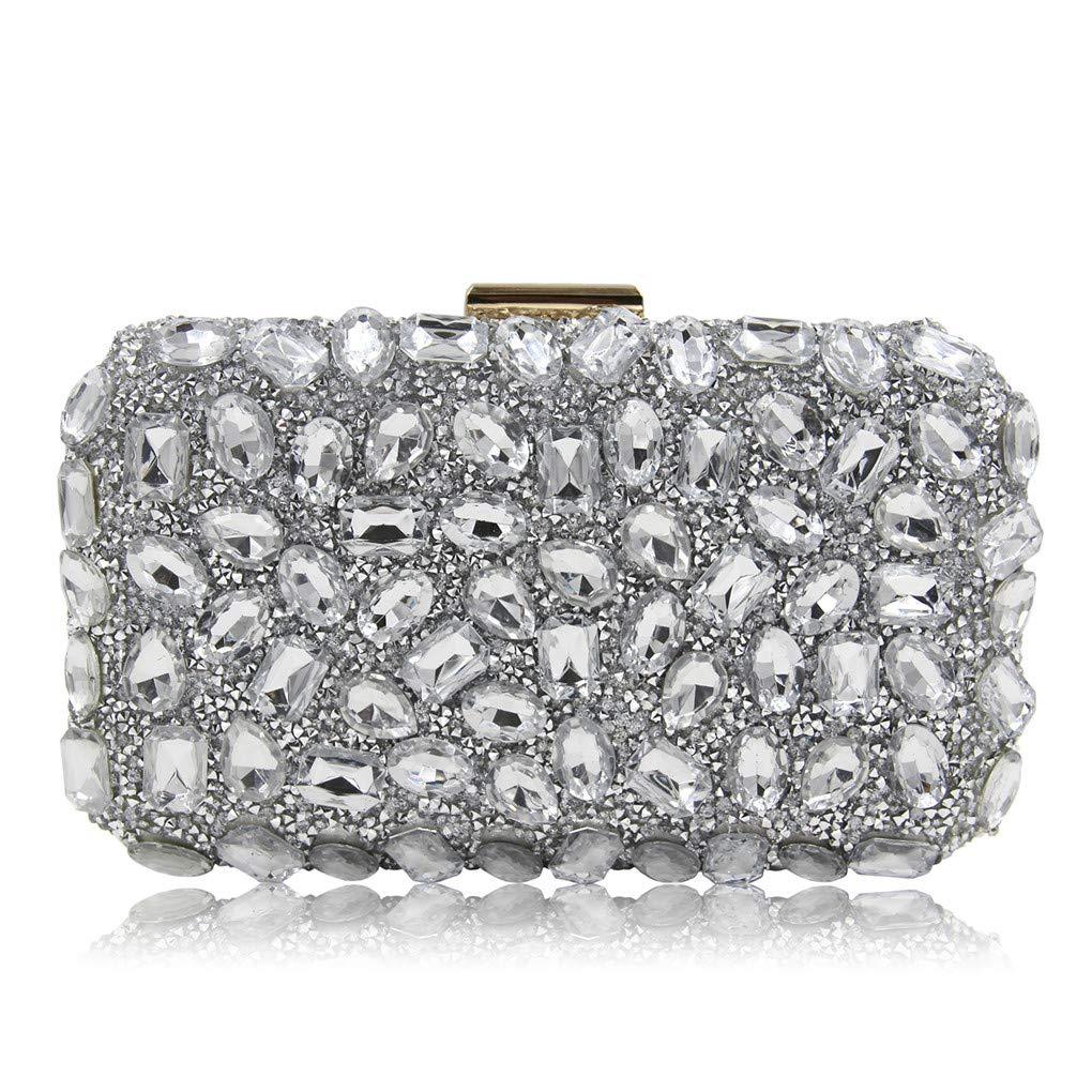 Diamantes de imitación de Cristal Las Mujeres Bolsos de Embrague con la Correa de Cadena Desmontable Crossbody Bolsa Bolso de Hombro-G 20x6x12cm(8x2x5inch): ...