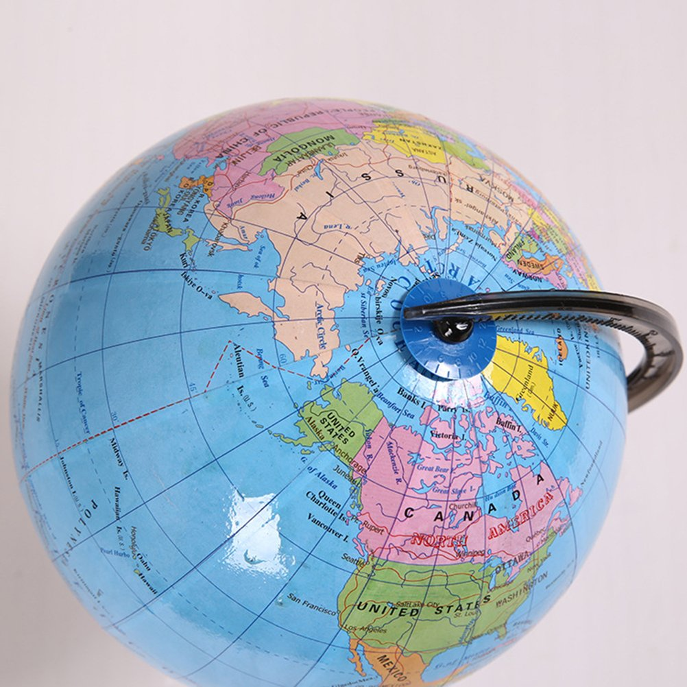 TOYMYTOY 7.2 inch World Globe with Stand Rotating Desktop Globe Educational Learning Toy
