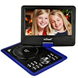 ieGeek 9.5'' Portable DVD Player with 5 Hour Rechargeable Battery, 360°LCD Eye Protection Swivel Screen, Supports 32GB SD Card and USB, with Remote Controller + Game Joystick +Car Charger (Blue)