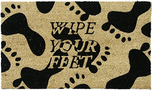 Rubber-Cal Wipe Your Feet, Please Coir Mat, 18 x 30-Inch