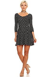 1654788002 Womens Casual Short and 3 4 Sleeve Fit and Flare A Line Skater Dress Reg