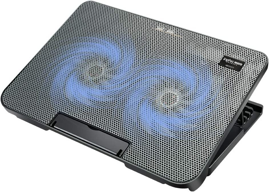 INPHIC Laptop Cooling Pad, Super Quiet Dual Fan Laptop Cooler Fitting from 14 to 17 Inches, 4 Adjustable Levels Laptop Cooling Stand, Metal Mesh Surface, Portable Cooling Pad for Laptop