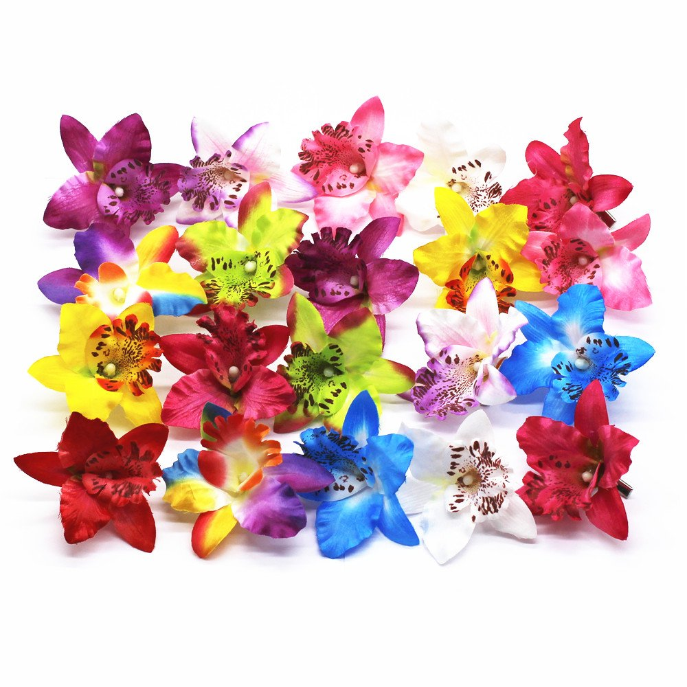 ZHU YU CHUN 20 Pcs Multi-Colored Hawaiian Orchid Flower Hair Clip Hair Pins for Girls Women Beach Wedding Party Supplies