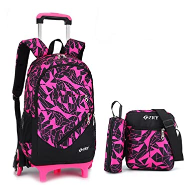 66b10bb4306 Amazon.com   School Bag with Wheels YUB Backpack Trolley School Bags for  Boys and Girls Removable Six Wheels (Rose Red)   Kids  Backpacks