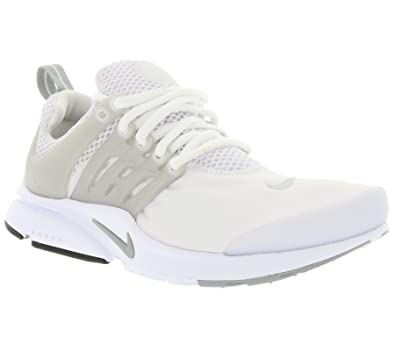 NIKE Presto GS Youth Boys Running Shoe (2Y, White/Metallic Silver-White