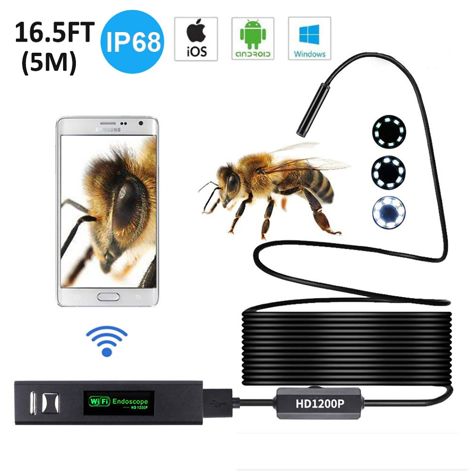 Wireless Endoscope IP68 Waterproof, Ranipobo Inspection Camera 8mm HD 1200P Semi-rigid Wifi Borescope Snake Camera with 8 Adjustable LEDs for Android & IOS Smartphone Tablet - Black 16.5FT