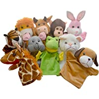 Toy Gadget Hand Puppets Big Animals Soft Toys Learning Toys - Set of 10 - 9 inch/23 cm