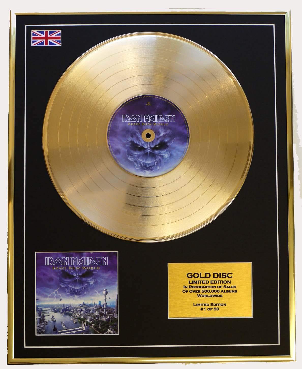 IRON MAIDEN Goldene Goldene Goldene Schallplatte Record Limitierte Edition BRAVE NEW WORLD 2c77fe