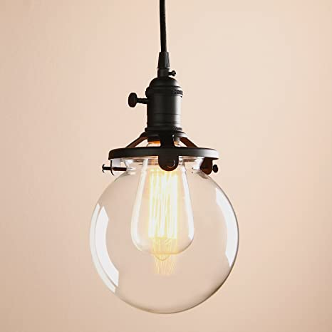 Permo vintage industrial pendant light fixture mini 59 round clear permo vintage industrial pendant light fixture mini 59quot round clear glass globe hand blown shade aloadofball Image collections