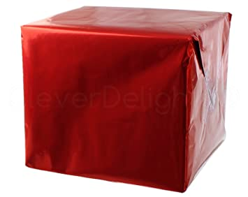 amazon com cleverdelights metallic red wrapping paper 30 x 300