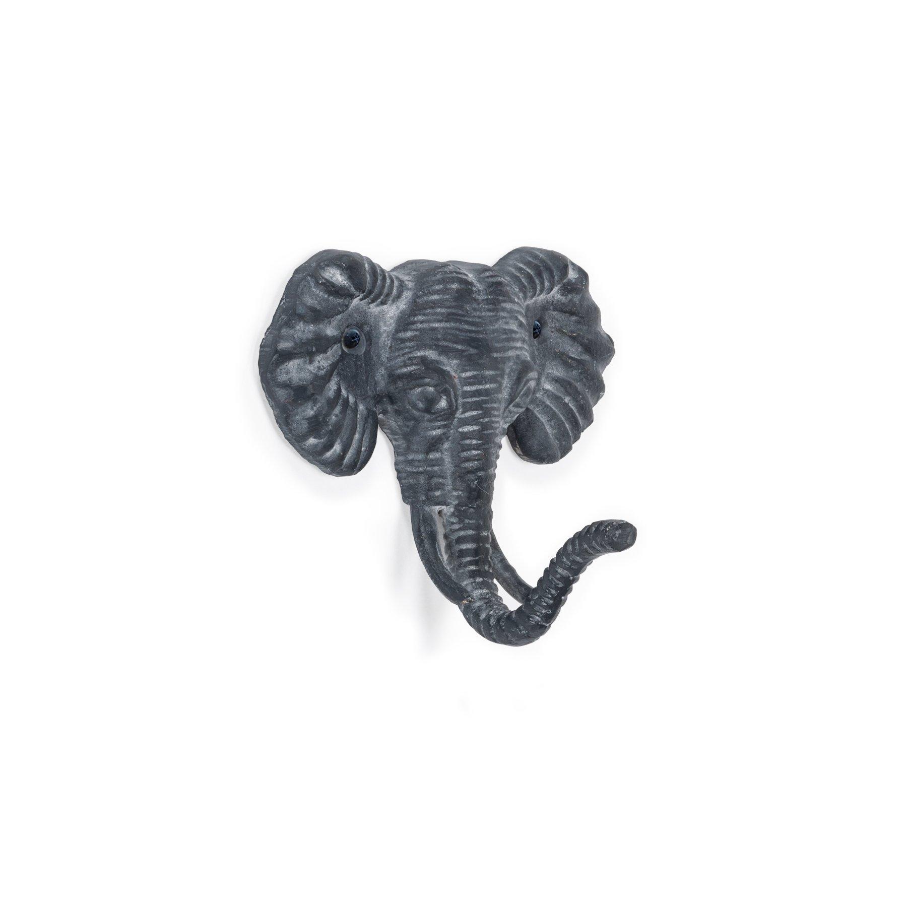 Abbott Collection Cast Iron Elephant Head Wall Hook