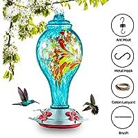 Evertree Hummingbird Feeder for Outdoors, Hand Blown Glass Hummingbird Feeder with Perch - 38 Fluid Ounces Hummingbird…
