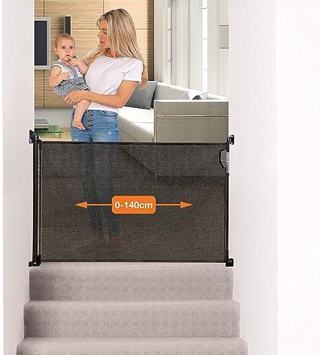 Dreambaby® G9431BB (0-140cm) - Barrera de Seguridad Extensible/Retráctil para Puertas y Escaleras. Extra Alta, Reubicable, para Uso en Interiores y Exteriores. Nueva Versión 2019! (Color: Negro): Amazon.es: Bebé