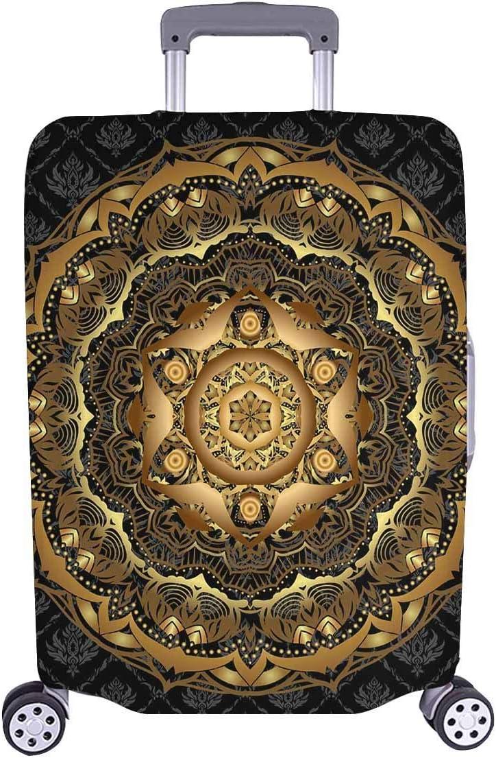 Maleta de Viaje de la elección de los viajeros del Damasco Negro de la Vendimia Mandala con Ruedas giratorias Maleta de Equipaje de 24 Pulgadas