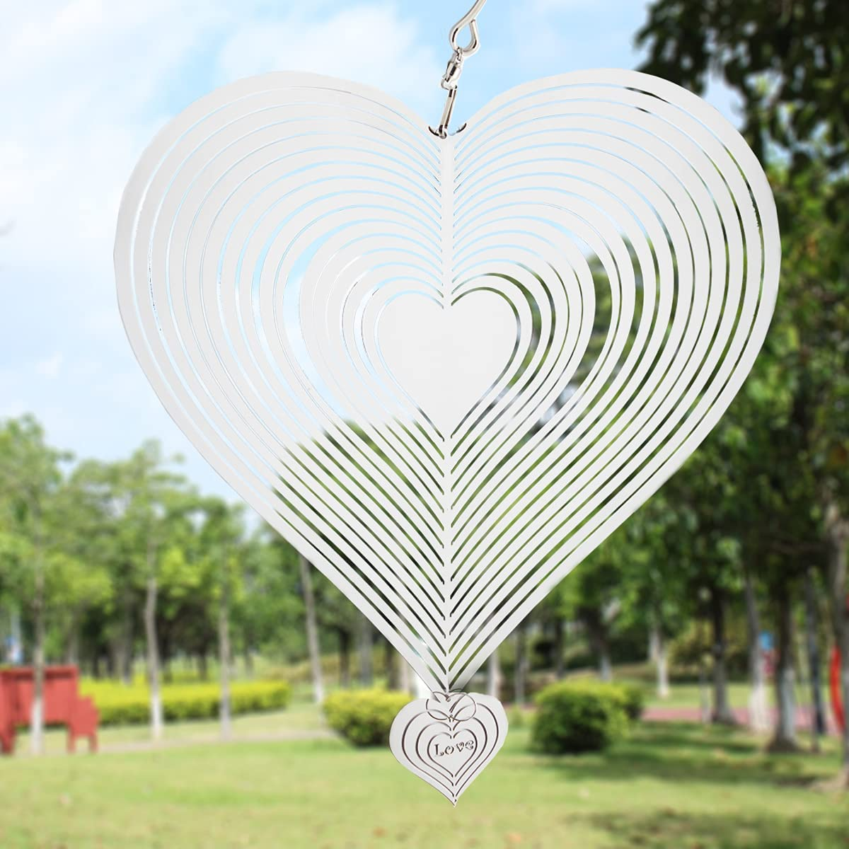 GELFORT Wind Spinners Outdoor with Mirror Finished Stainless Steel | Garden Wind Spinner for Yard | Outdoor Hanging 3D Decor for Patio or Porch (Heart)