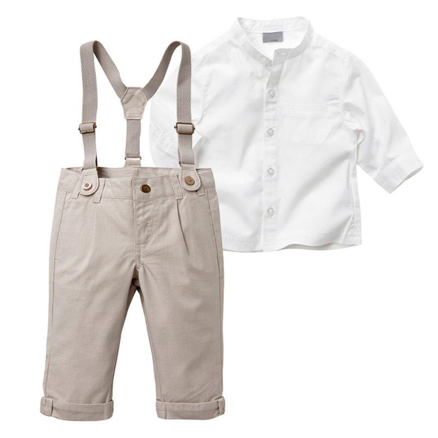 Mandaartins 2Pcs Kids Boys Long Sleeve Tops Shirt + Long Suspender Pant Trousers Sets
