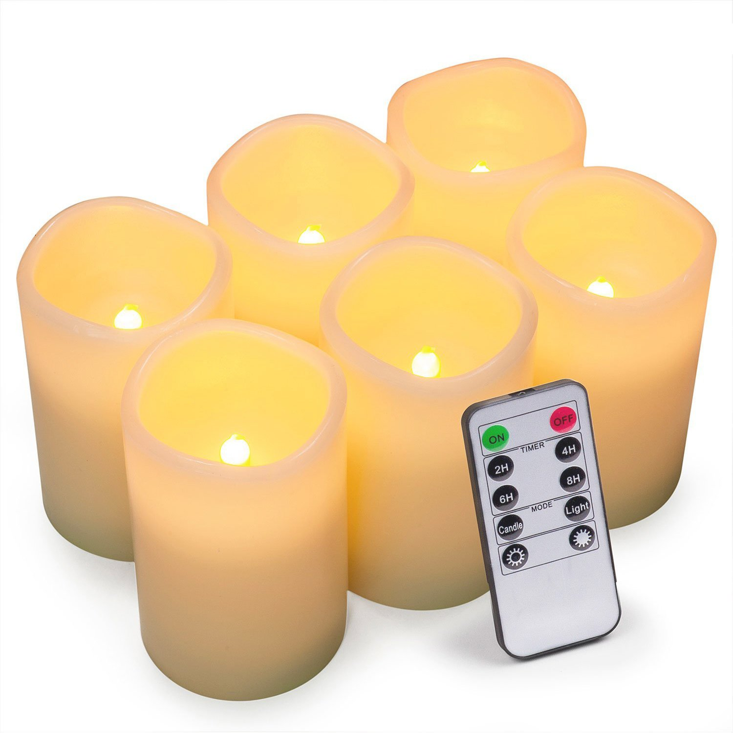 Bingolife Real Wax Flameless Weatherproof Outdoor and Indoor LED Candles 3'' x 4'' with Remote Control & Timer - Set of 6 (Ivory)
