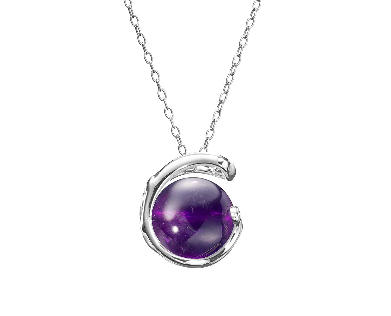 February Birthstone Amethyst Point Necklace Sterling Silver Chain Amethyst Necklace