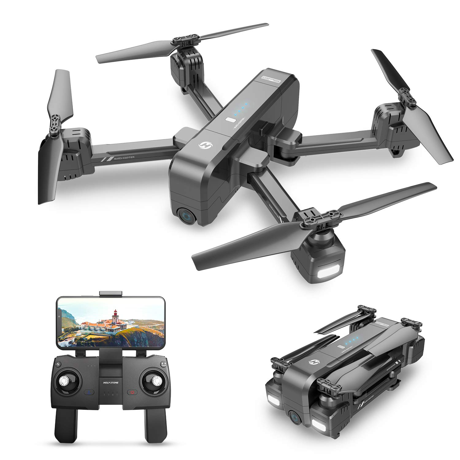 Holy Stone HS270 GPS 4K Drone with FHD FPV Camera Live Video for Adults, Portable Selfie Quadcopter for Beginners with Auto Return Home, Custom Flight Path, Follow Me, Long Control Range, Auto Hover by Holy Stone