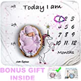 Cozy Baby Milestone Blanket with Height Tracker Weekly Monthly Photo Props Shoots Backdrop for Newborn Boy Girl (Flower Wreath Included),New Mom Baby Shower Gifts