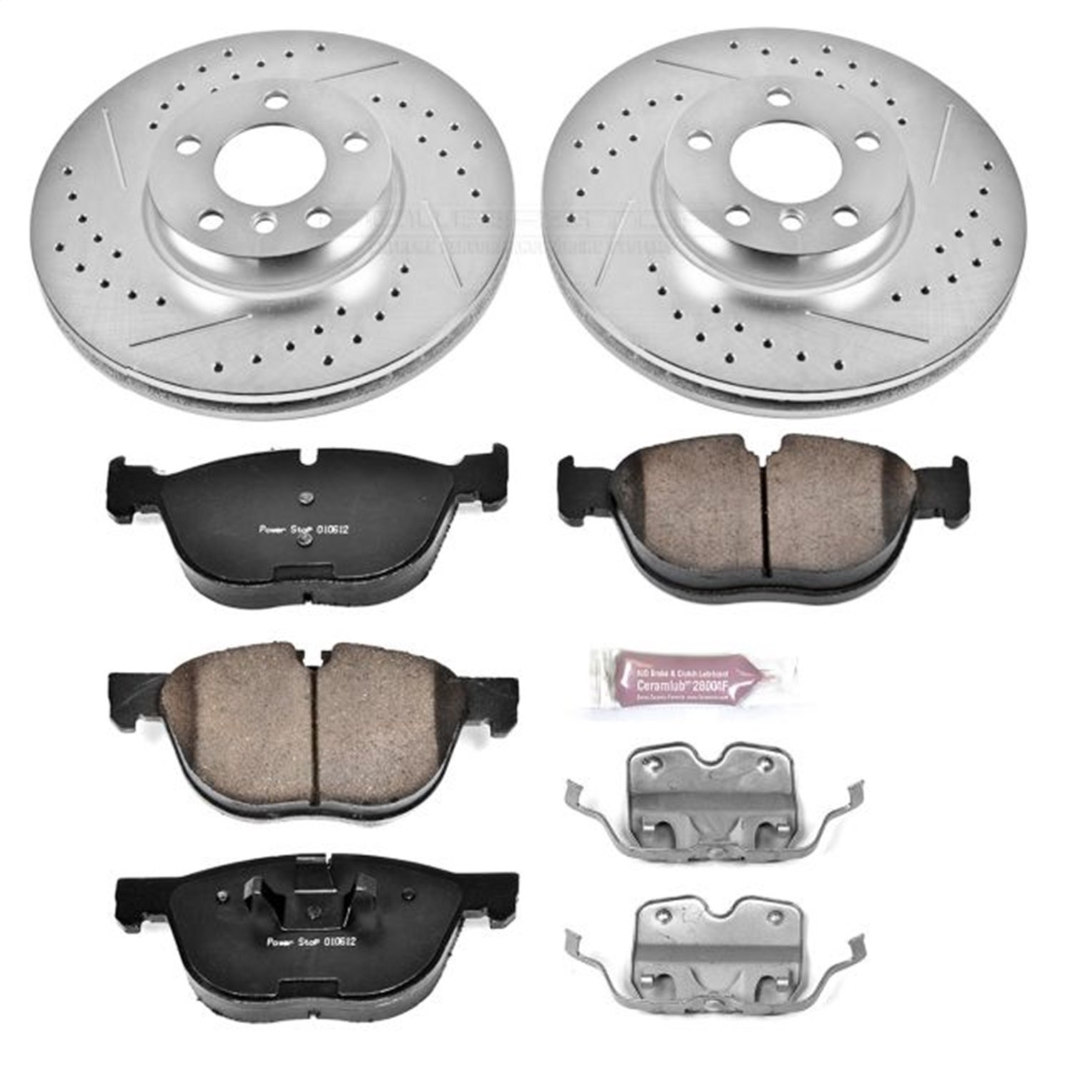 Power Stop K6064 Front Z23 Evolution Brake Kit with Drilled//Slotted Rotors and Ceramic Brake Pads