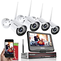 [Smart All in One]1080P Wireless Security Camera System with 1TB Hard Drive&10.1 inches Monitor, SAFEVANT 8 Channel…