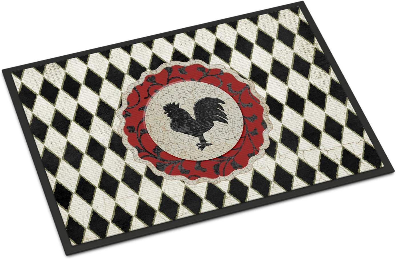 Caroline s Treasures SB3086JMAT Rooster Harlequin Black and White Indoor or Outdoor Mat 24×36, 24H X 36W, Multicolor