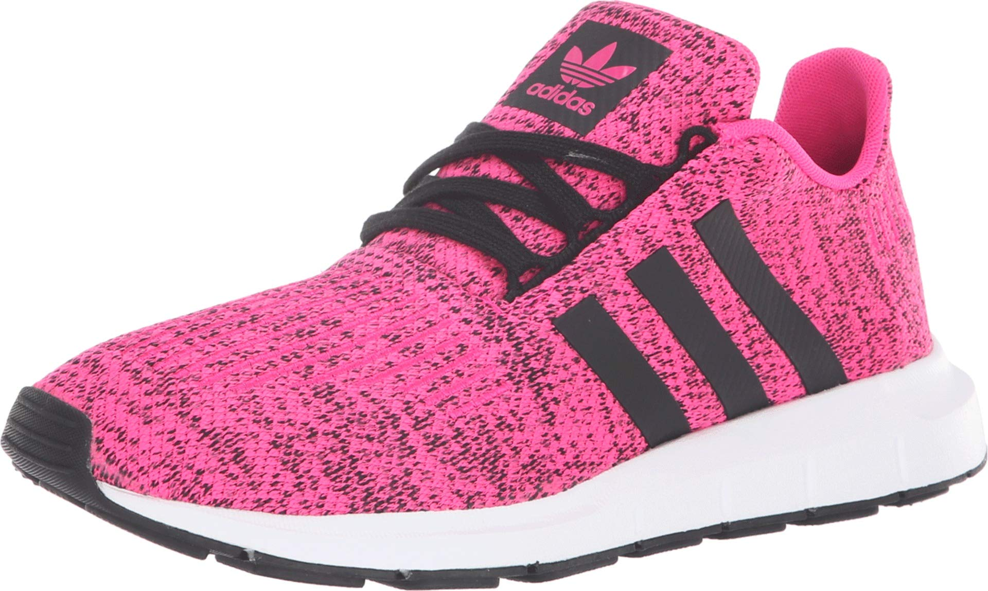 adidas Originals Kids Girl's Swift Run J (Big Kid) Shock Pink/Black 4.5 M US Big Kid