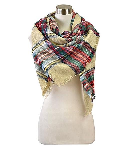 5265fa75822c2 Tan Green Red Plaid Blanket Scarf Wrap Shawl at Amazon Women's ...