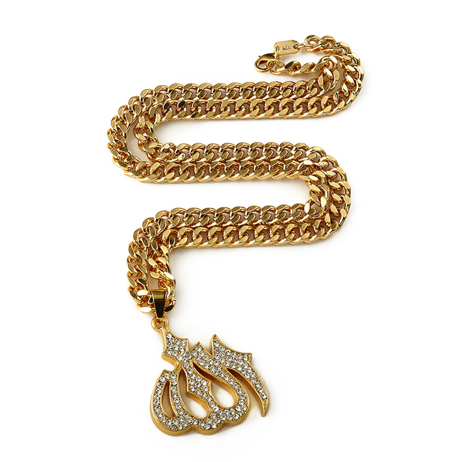 Large Shiny Gold Allah Pendant With Rhinestones On 30-inch Gold Rollo Chain - Muslim Hip Hop Jewelry