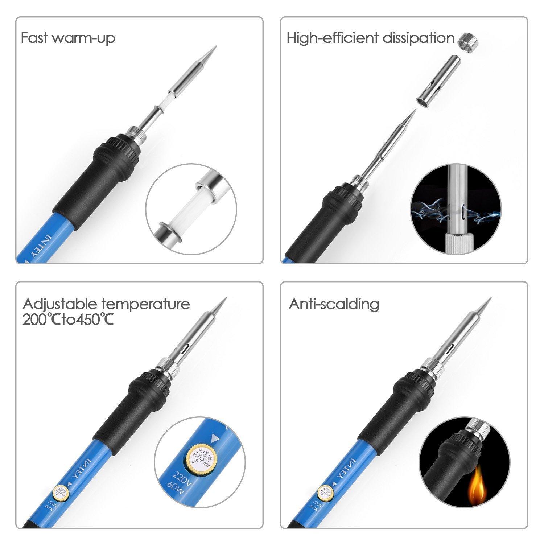 INTEY 13 N1 Kit De Soldador Para Producción De Electrónica, Mantenimiento Eléctrico Temperatura Ajustable 60 W 110 V: Amazon.es: Bricolaje y herramientas