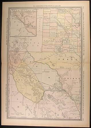 Map Of Western Texas.Amazon Com Western Texas El Paso Pecos Presidio Cockran Hale 1882