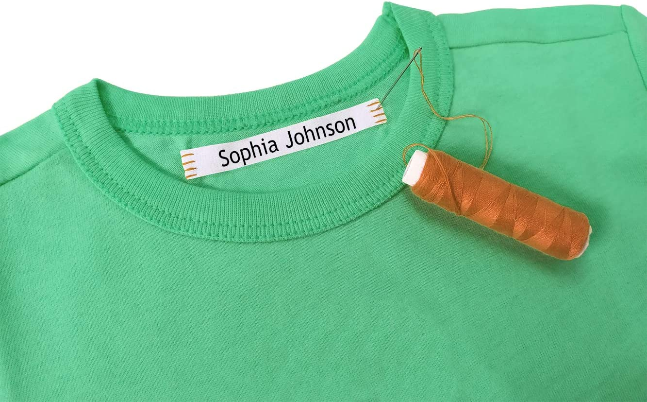 100 Personalized Sewing Labels to Mark Clothes. 100% Cotton. Gentle with Your Kids Skin, for Children's School Uniform/Clothing Labels for Kids, Baby and Children.