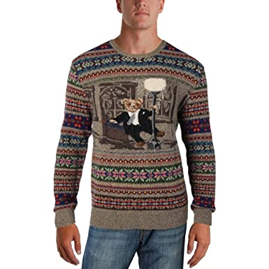 d6a77c282 RALPH LAUREN Mens Iconic Bear Isle Pullover Sweater Beige XS at Amazon Men s  Clothing store
